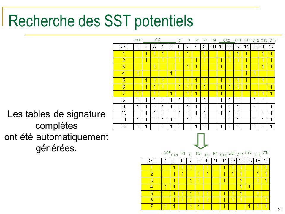 21 Recherche des SST potentiels AOP CX1 R1 C R2 R3 R4 CX2 GBF CT1 CT2 CT3 CTs AOP CX1 R1 C R2 R3 R4 CX2 GBF CT1 CT2 CT3 CTs Les tables de signature complètes ont été automatiquement générées.