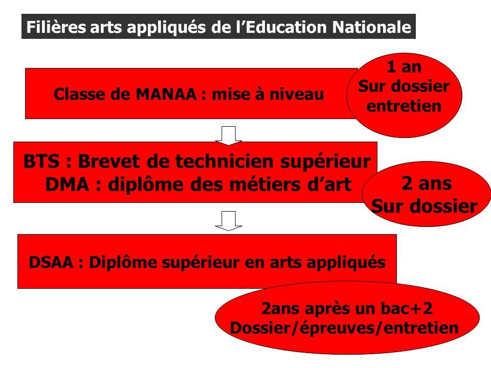 Filières arts appliqués de lEducation Nationale Classe de MANAA : mise à niveau BTS : Brevet de technicien supérieur DMA : diplôme des métiers dart 2