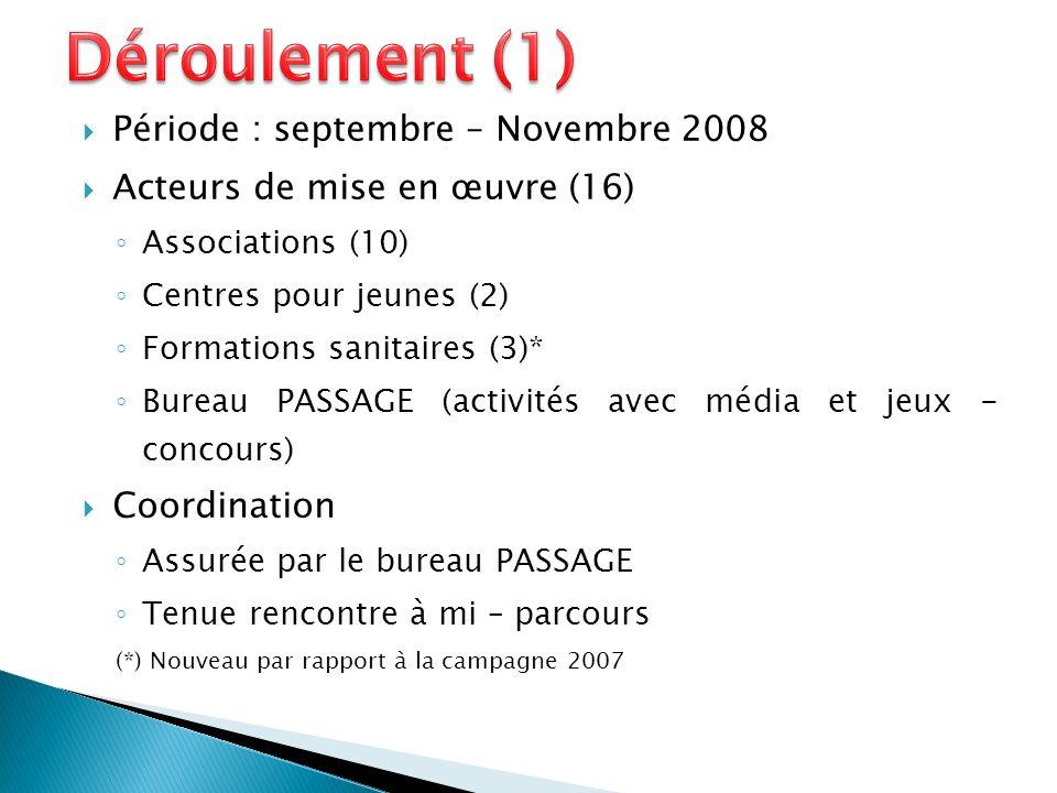 Période : septembre – Novembre 2008 Acteurs de mise en œuvre (16) Associations (10) Centres pour jeunes (2) Formations sanitaires (3)* Bureau PASSAGE