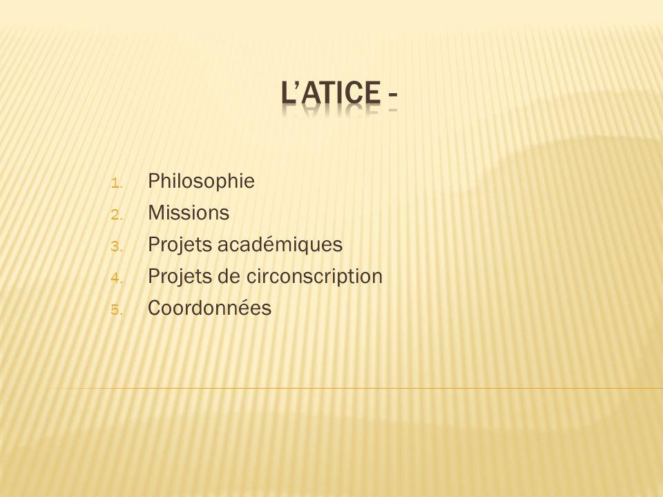 1. Philosophie 2. Missions 3. Projets académiques 4. Projets de circonscription 5. Coordonnées