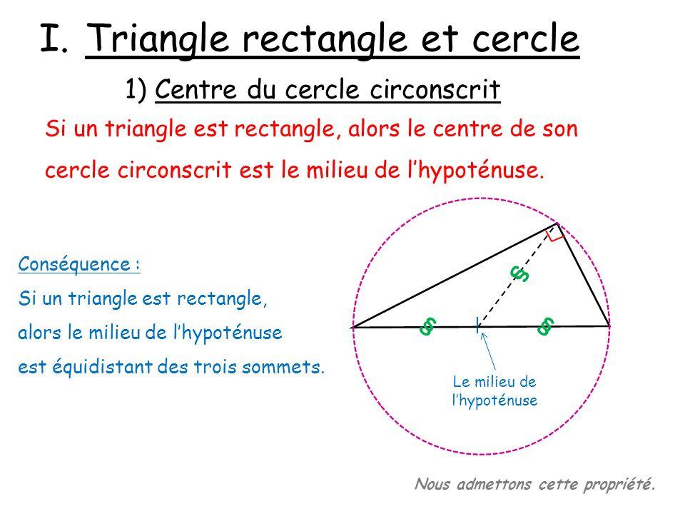 2) Propriété réciproque Si un triangle est inscrit dans un cercle et que lun de ses côtés est un diamètre de ce cercle, alors ce triangle est rectangle.