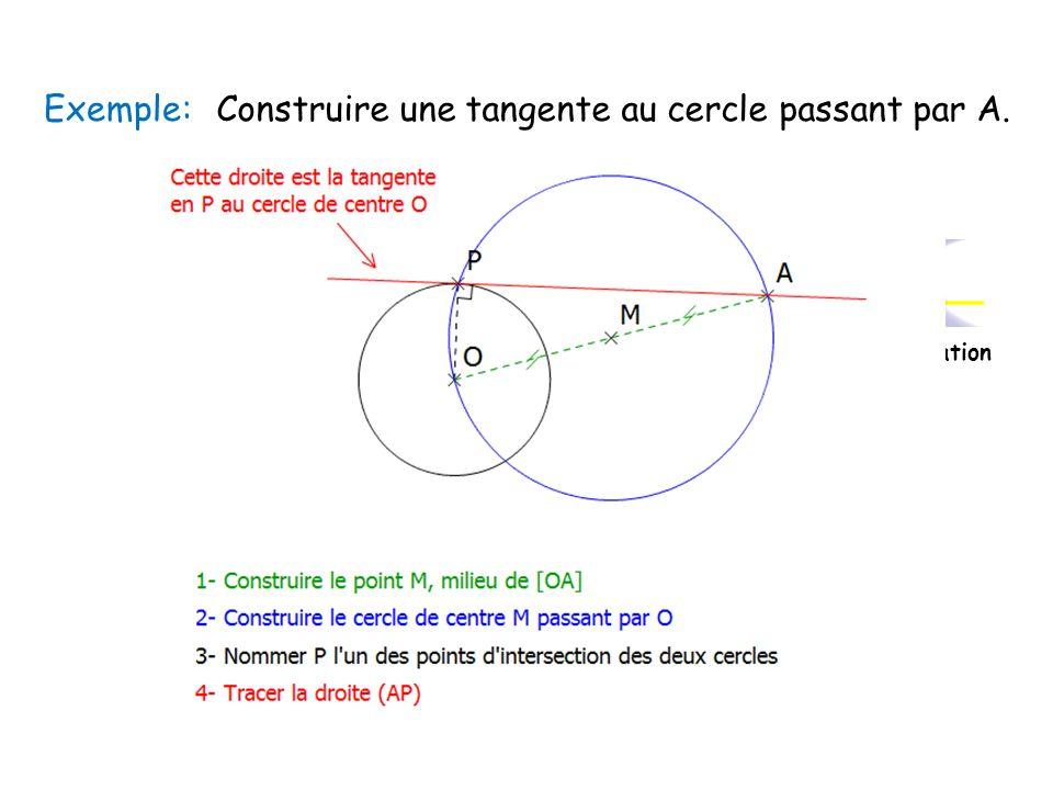 Exemple:Construire une tangente au cercle passant par A. Cliquez sur licône pour voir lanimation