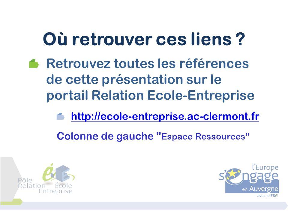 Retrouvez toutes les références de cette présentation sur le portail Relation Ecole-Entreprise http://ecole-entreprise.ac-clermont.fr Colonne de gauch