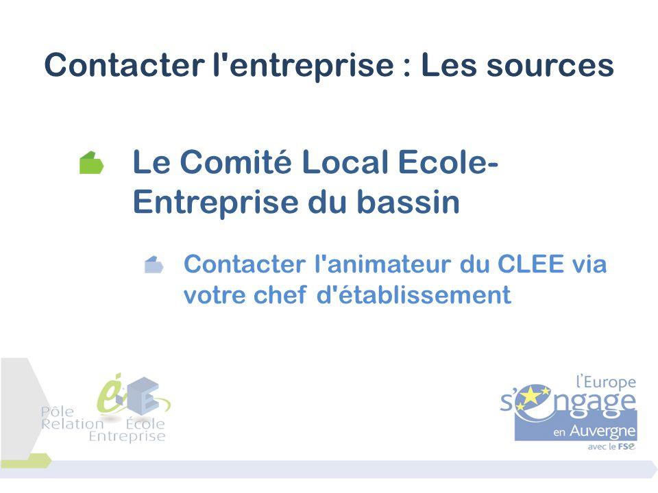 Le Comité Local Ecole- Entreprise du bassin Contacter l'animateur du CLEE via votre chef d'établissement Contacter l'entreprise : Les sources