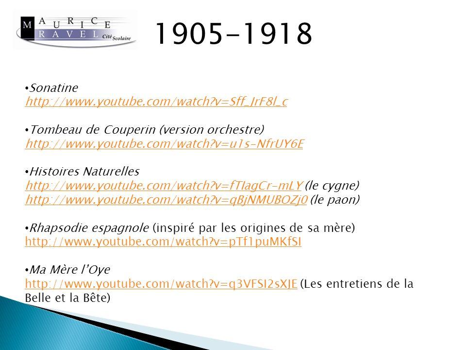 1918-1937 Œuvres principales: Don Quichotte à Dulcinée Boléro Concertos LEnfant et les Sortilèges (avec un livret écrit par Colette en 1917) Nombreux voyages pour des tournées de concerts dans le Monde entier.