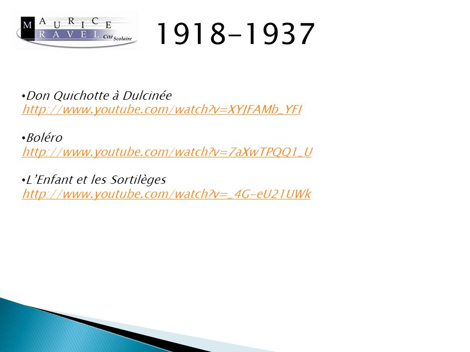 Sources Ravel, Vladimir JANKELEVITCH, Editions Seuil Ravel, Jean ECHENOZ, Editions Minuit Réalisé par Laura DE GIORGI Etudiante AM2 Janvier 2013