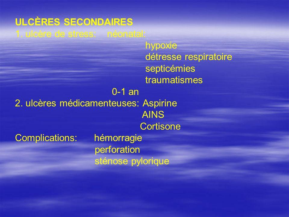 ULCÈRES SECONDAIRES 1. ulcère de stress: néonatal: hypoxie détresse respiratoire septicémies traumatismes 0-1 an 2. ulcères médicamenteuses: Aspirine