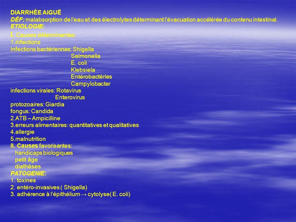 DIARRHÉE AIGUË DÉF: malabsorption de leau et des électrolytes déterminant lévacuation accélérée du contenu intestinal. ETIOLOGIE: I. Causes déterminan