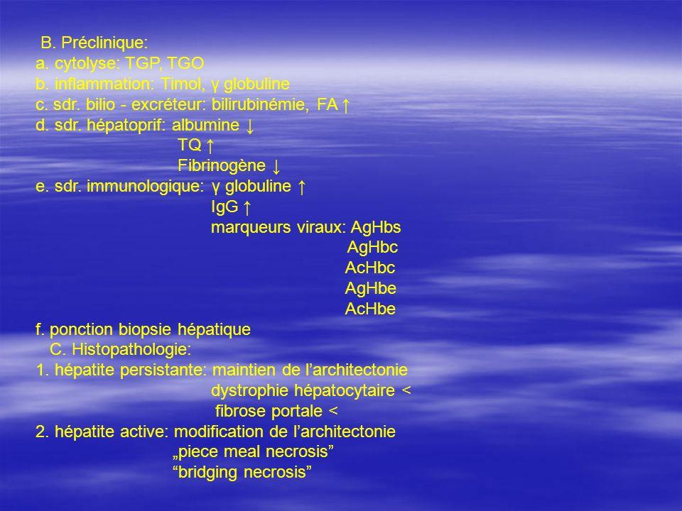 B. Préclinique: a. cytolyse: TGP, TGO b. inflammation: Timol, γ globuline c. sdr. bilio - excréteur: bilirubinémie, FA d. sdr. hépatoprif: albumine TQ