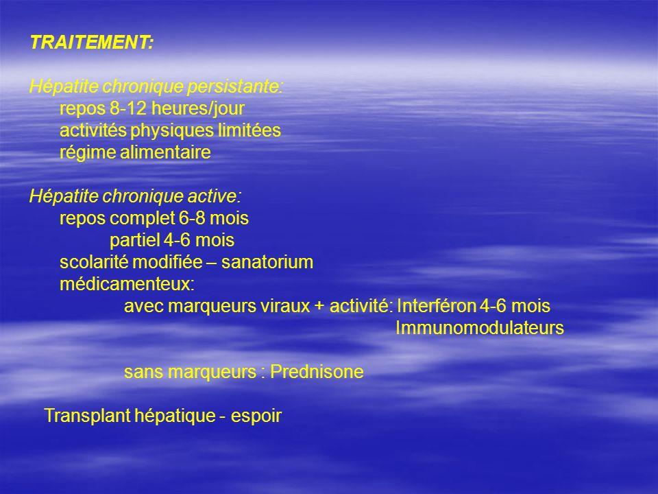 TRAITEMENT: Hépatite chronique persistante: repos 8-12 heures/jour activités physiques limitées régime alimentaire Hépatite chronique active: repos co