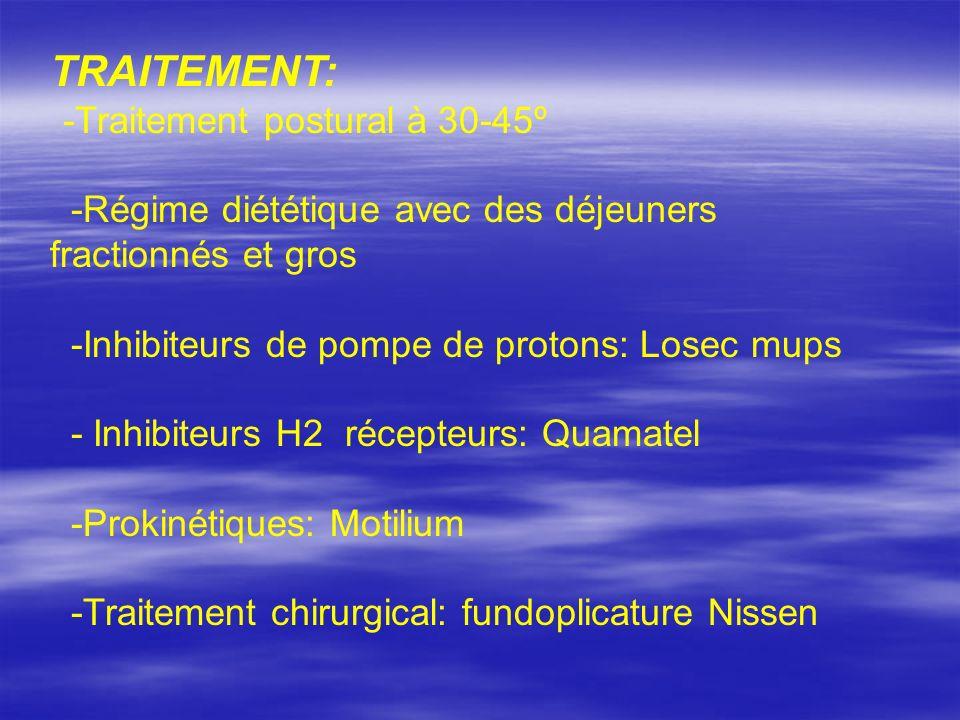 TRAITEMENT: -Traitement postural à 30-45º -Régime diététique avec des déjeuners fractionnés et gros -Inhibiteurs de pompe de protons: Losec mups - Inh