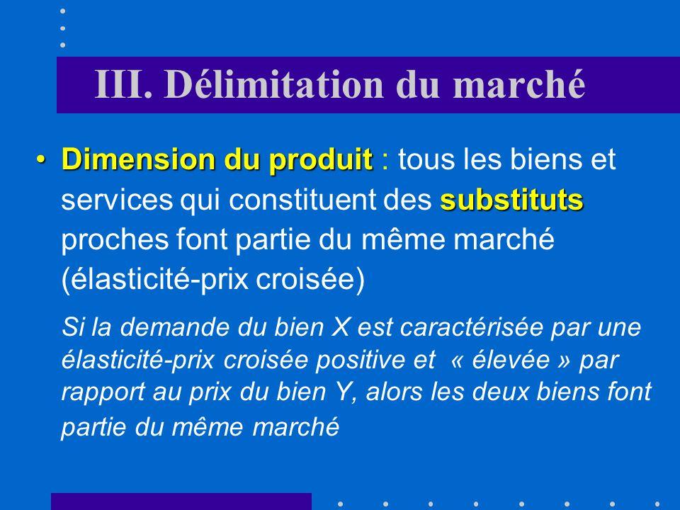 III. Délimitation du marché Pour déterminer le degré de concurrence régnant sur le marché, il faut au préalable définir la taille du marché pertinent