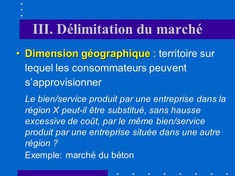 III. Délimitation du marché Dimension du produit substitutsDimension du produit : tous les biens et services qui constituent des substituts proches fo