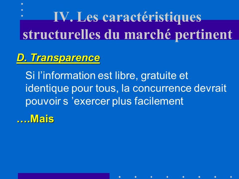 IV. Les caractéristiques structurelles du marché pertinent C. Barrières Labsence de barrières à lentrée, à la sortie, à la mobilité est une condition