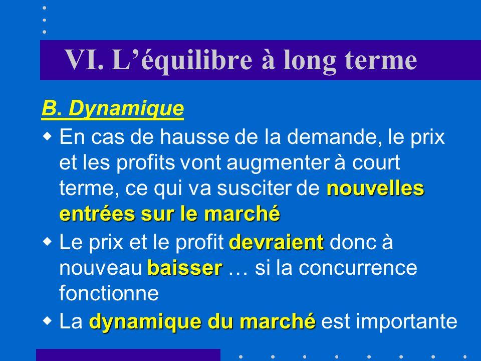 VI. Léquilibre à long terme A. Processus déquilibre Labsence de tout surprofit et une rentabilité normale des fonds propres indiquent que la concurren