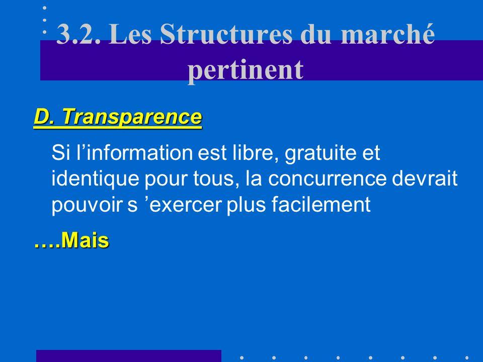 3.2. Les Structures du marché pertinent C. Barrières Labsence de barrières à lentrée, à la sortie, à la mobilité est une condition importante pour que