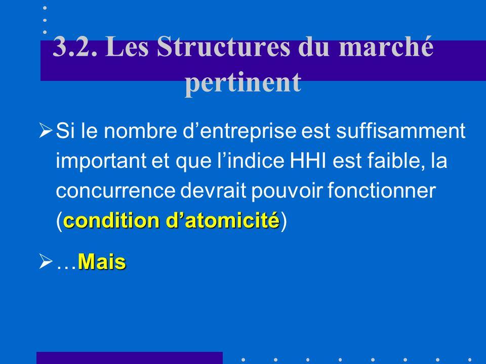 3.2. Les Structures du marché pertinent A. Nombre dentreprises et concentration Pour caractériser le marché, on utilise souvent des indices de concent