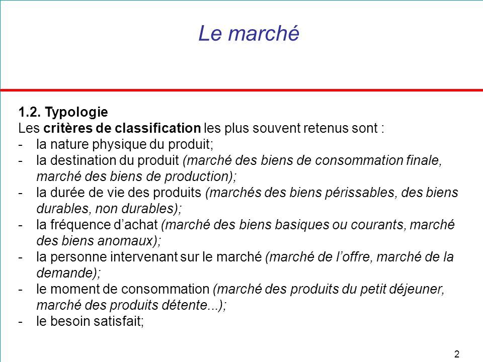 3 Le marché Ce dernier critère permet une classification en quatre types de marchés :