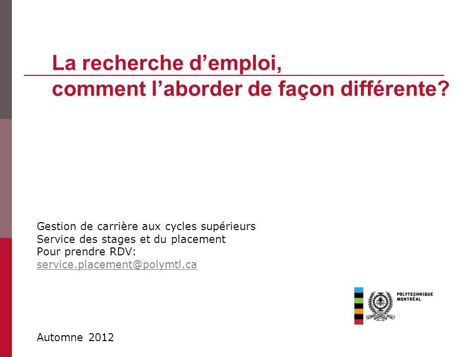 Gestion de carrière aux cycles supérieurs Service des stages et du placement Pour prendre RDV: service.placement@polymtl.ca La recherche demploi, comm