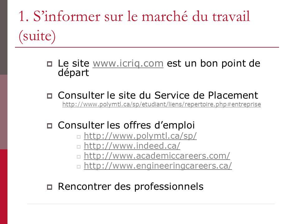 1. Sinformer sur le marché du travail (suite) Le site www.icriq.com est un bon point de départwww.icriq.com Consulter le site du Service de Placement
