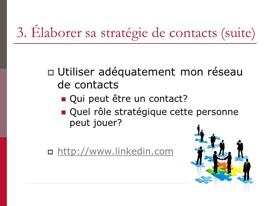 3. Élaborer sa stratégie de contacts (suite) Utiliser adéquatement mon réseau de contacts Qui peut être un contact? Quel rôle stratégique cette person