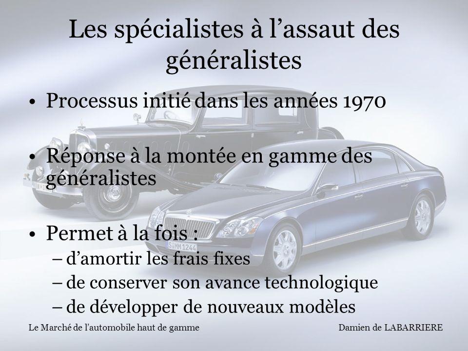 Damien de LABARRIERE Le Marché de lautomobile haut de gamme Les spécialistes à lassaut des généralistes Processus initié dans les années 1970 Réponse