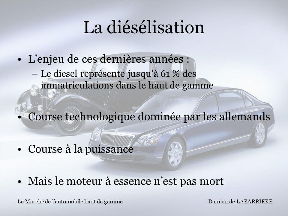 Damien de LABARRIERE Le Marché de lautomobile haut de gamme La diésélisation Lenjeu de ces dernières années : –Le diesel représente jusquà 61 % des im