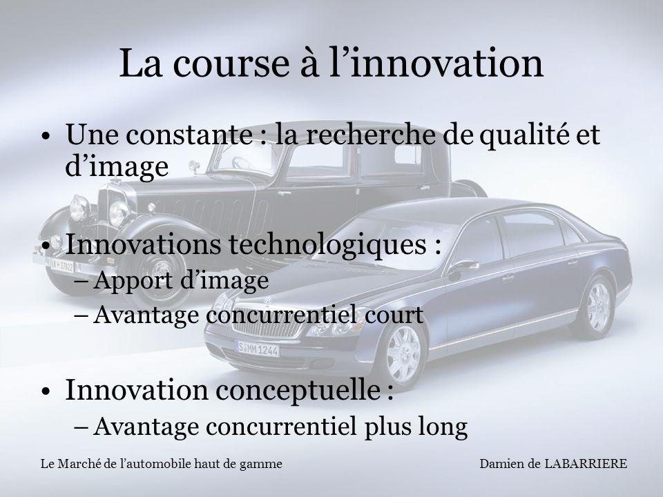 Damien de LABARRIERE Le Marché de lautomobile haut de gamme La course à linnovation Une constante : la recherche de qualité et dimage Innovations tech