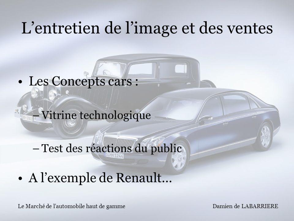 Damien de LABARRIERE Le Marché de lautomobile haut de gamme Lentretien de limage et des ventes Les Concepts cars : –Vitrine technologique –Test des ré
