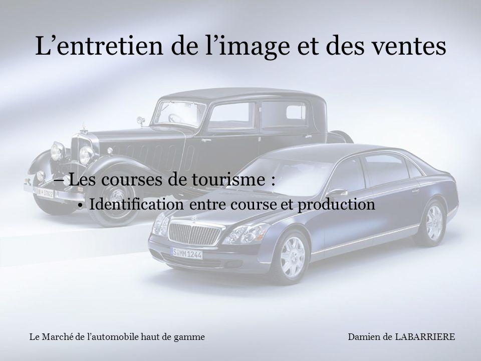 Damien de LABARRIERE Le Marché de lautomobile haut de gamme Lentretien de limage et des ventes –Les courses de tourisme : Identification entre course