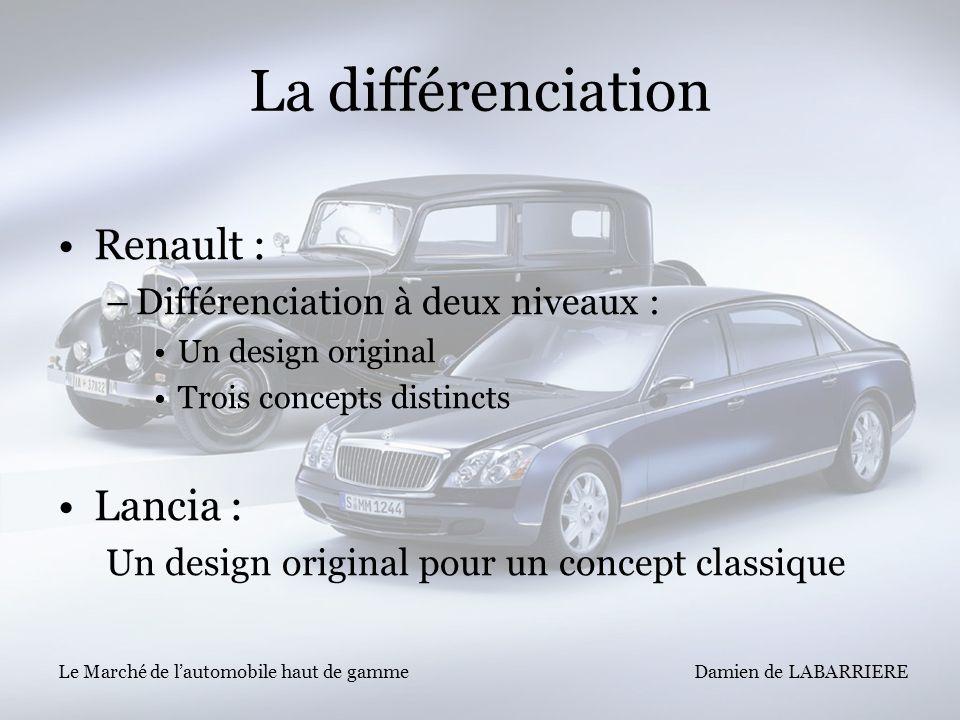 Damien de LABARRIERE Le Marché de lautomobile haut de gamme La différenciation Renault : –Différenciation à deux niveaux : Un design original Trois co