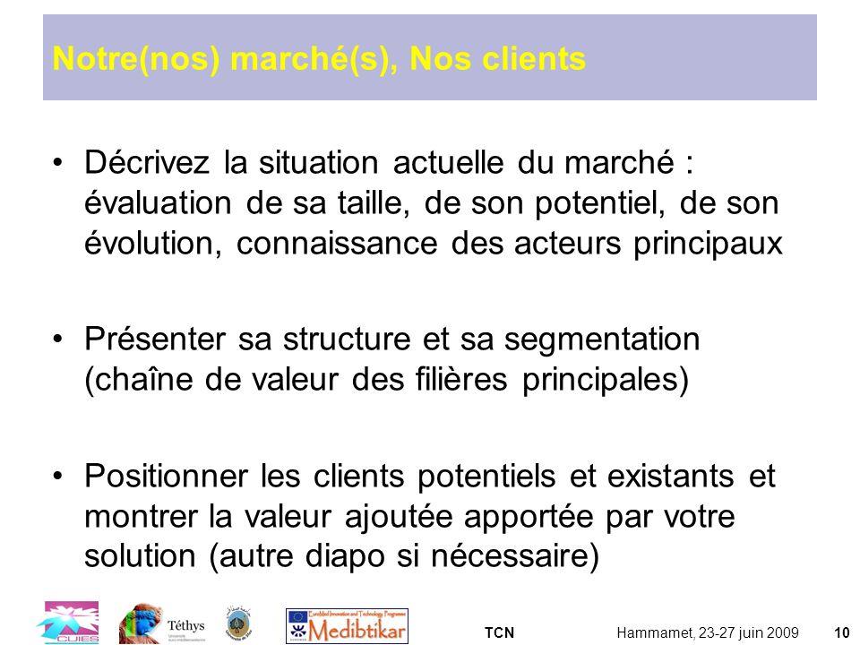 TCNHammamet, 23-27 juin 200910 Notre(nos) marché(s), Nos clients Décrivez la situation actuelle du marché : évaluation de sa taille, de son potentiel,