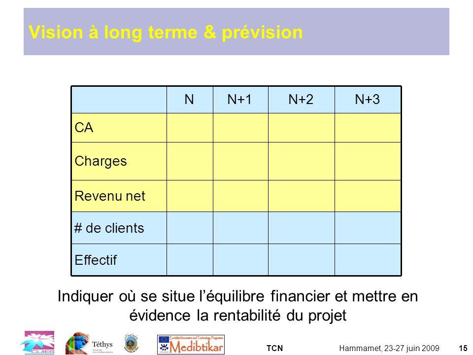 TCNHammamet, 23-27 juin 200915 Vision à long terme & prévision NN+1N+2N+3 CA Charges Revenu net # de clients Effectif Indiquer où se situe léquilibre