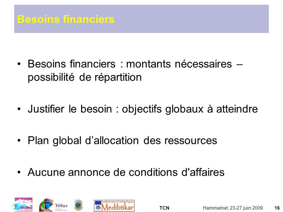 TCNHammamet, 23-27 juin 200916 Besoins financiers Besoins financiers : montants nécessaires – possibilité de répartition Justifier le besoin : objecti