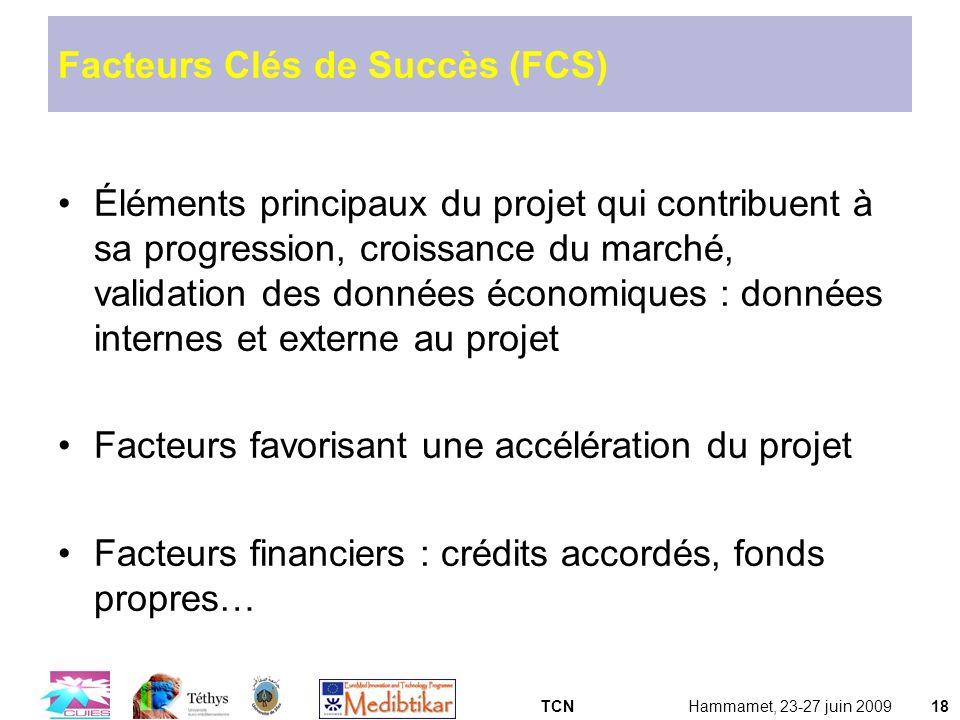TCNHammamet, 23-27 juin 200918 Facteurs Clés de Succès (FCS) Éléments principaux du projet qui contribuent à sa progression, croissance du marché, val