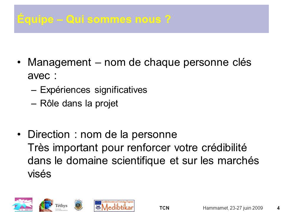 TCNHammamet, 23-27 juin 20094 Équipe – Qui sommes nous ? Management – nom de chaque personne clés avec : –Expériences significatives –Rôle dans la pro