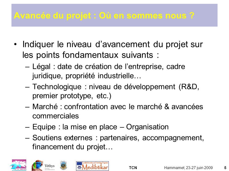 TCNHammamet, 23-27 juin 20095 Avancée du projet : Où en sommes nous ? Indiquer le niveau davancement du projet sur les points fondamentaux suivants :