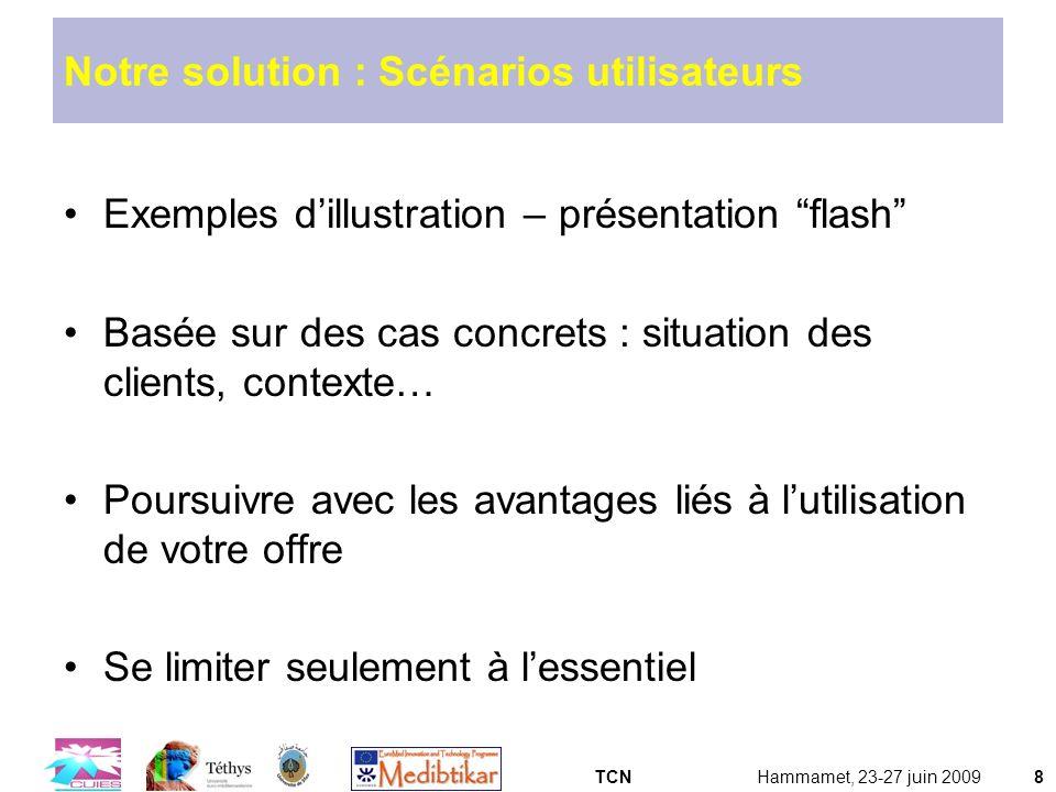 TCNHammamet, 23-27 juin 20098 Notre solution : Scénarios utilisateurs Exemples dillustration – présentation flash Basée sur des cas concrets : situati