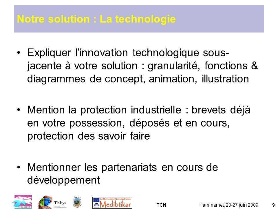 TCNHammamet, 23-27 juin 20099 Notre solution : La technologie Expliquer linnovation technologique sous- jacente à votre solution : granularité, foncti