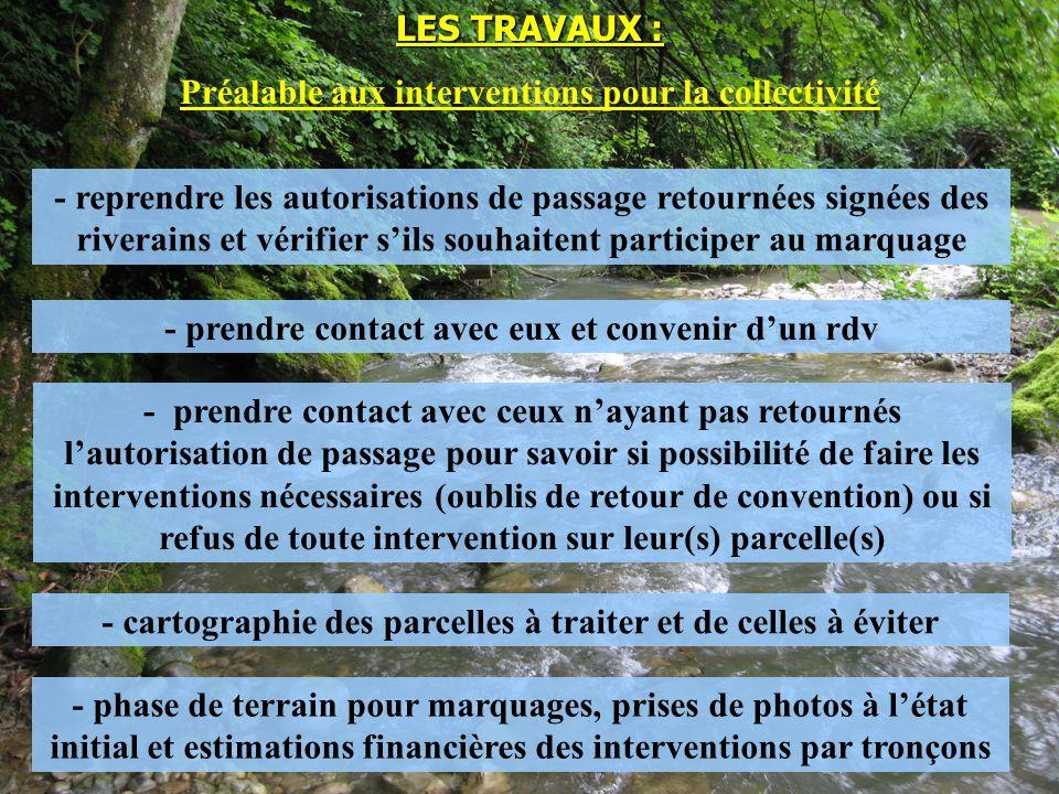 - reprendre les autorisations de passage retournées signées des riverains et vérifier sils souhaitent participer au marquage LES TRAVAUX : Préalable a