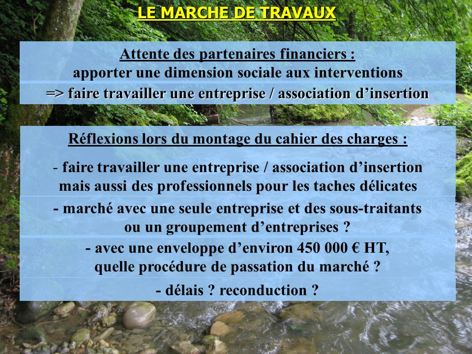 LE MARCHE DE TRAVAUX Attente des partenaires financiers : apporter une dimension sociale aux interventions Réflexions lors du montage du cahier des ch