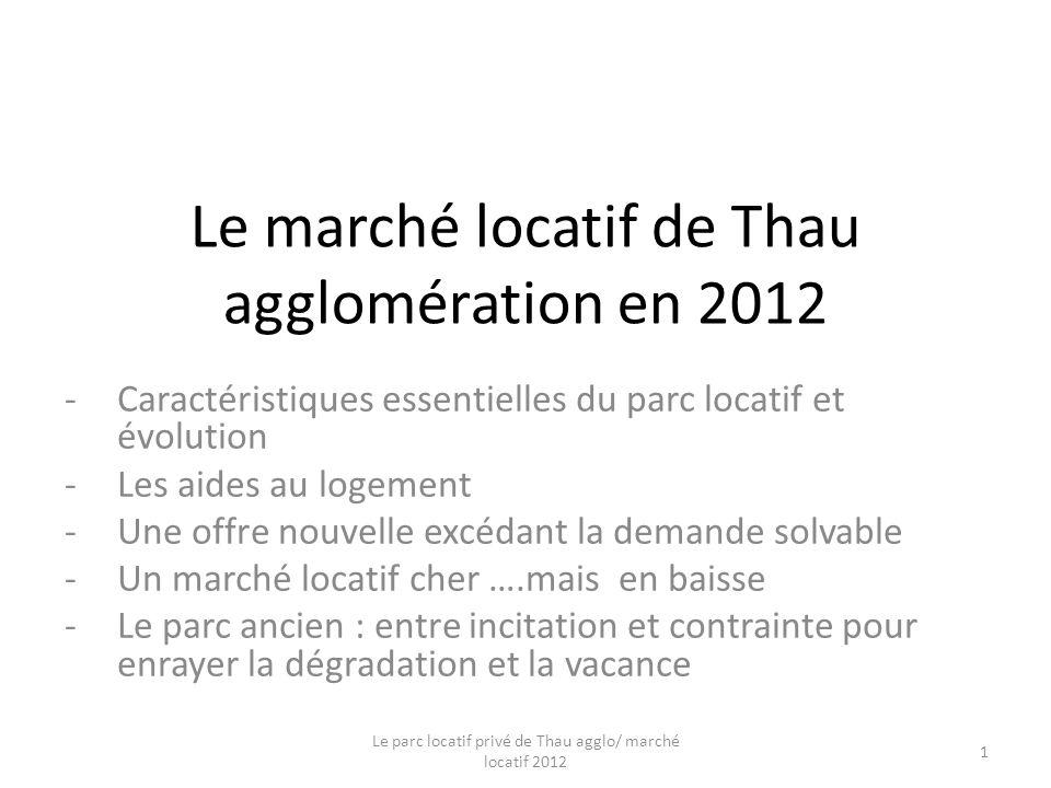 Le marché locatif de Thau agglomération en 2012 -Caractéristiques essentielles du parc locatif et évolution -Les aides au logement -Une offre nouvelle excédant la demande solvable -Un marché locatif cher ….mais en baisse -Le parc ancien : entre incitation et contrainte pour enrayer la dégradation et la vacance Le parc locatif privé de Thau agglo/ marché locatif 2012 1