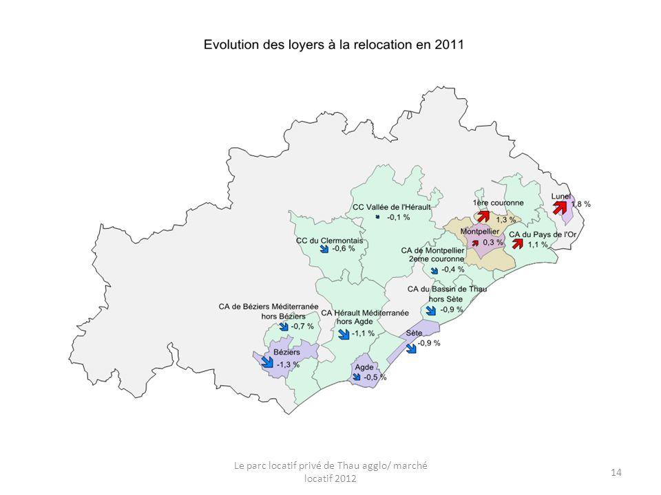 Evolution des loyers à la relocation Le parc locatif privé de Thau agglo/ marché locatif 2012 14