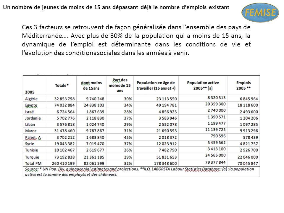 Un nombre de jeunes de moins de 15 ans dépassant déjà le nombre demplois existant Ces 3 facteurs se retrouvent de façon généralisée dans lensemble des pays de Méditerranée….