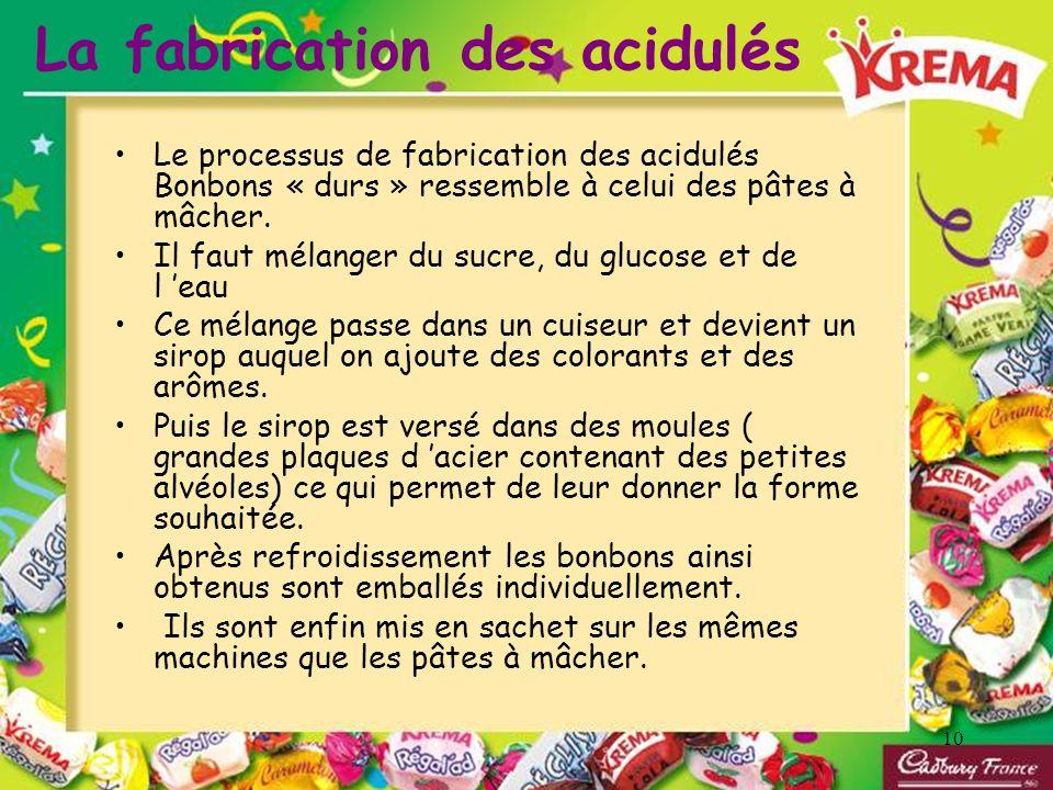 10 La fabrication des acidulés Le processus de fabrication des acidulés Bonbons « durs » ressemble à celui des pâtes à mâcher. Il faut mélanger du suc
