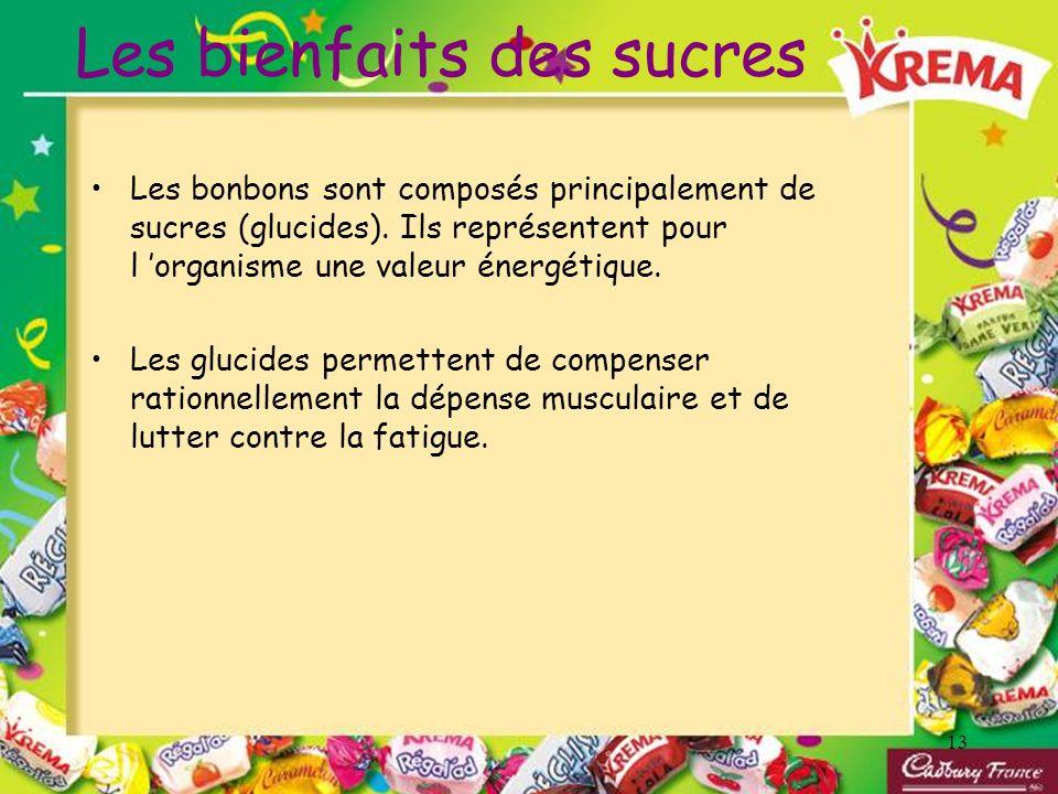 13 Les bienfaits des sucres Les bonbons sont composés principalement de sucres (glucides). Ils représentent pour l organisme une valeur énergétique. L