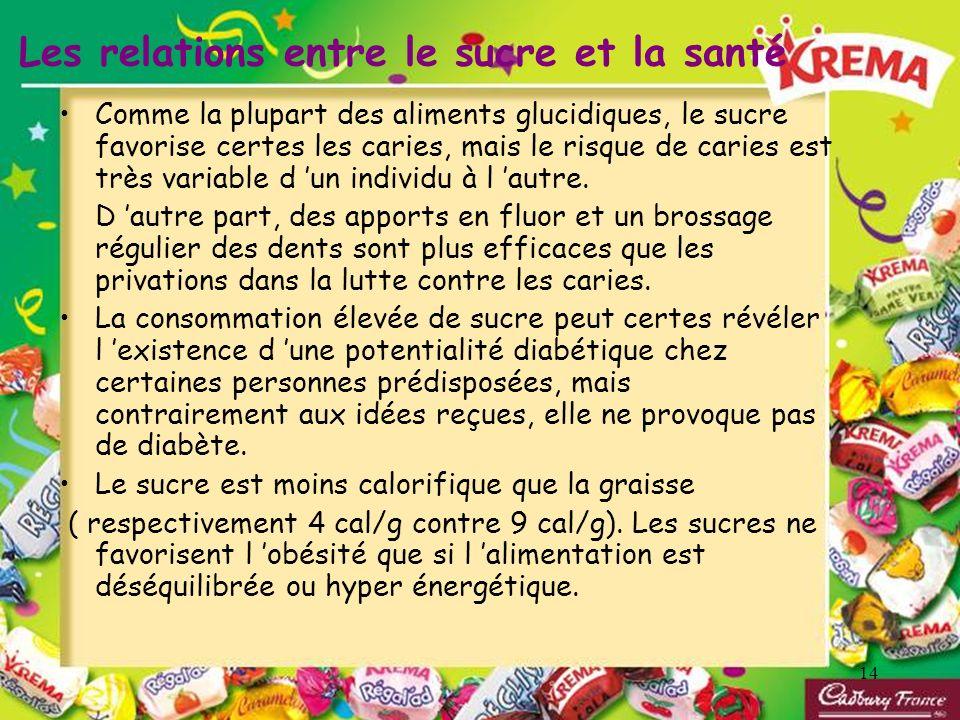 14 Les relations entre le sucre et la santé Comme la plupart des aliments glucidiques, le sucre favorise certes les caries, mais le risque de caries e