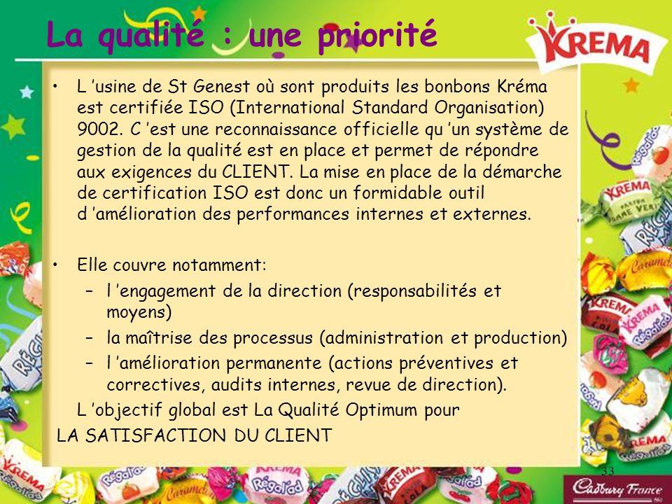 33 La qualité : une priorité L usine de St Genest où sont produits les bonbons Kréma est certifiée ISO (International Standard Organisation) 9002. C e