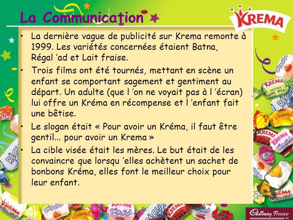 36 La Communication La dernière vague de publicité sur Krema remonte à 1999. Les variétés concernées étaient Batna, Régal ad et Lait fraise. Trois fil