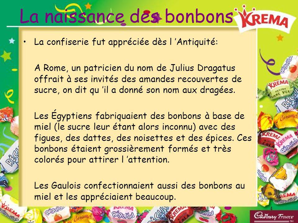 4 La naissance des bonbons La confiserie fut appréciée dès l Antiquité: A Rome, un patricien du nom de Julius Dragatus offrait à ses invités des amand